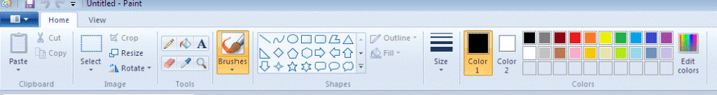 home tab in paint