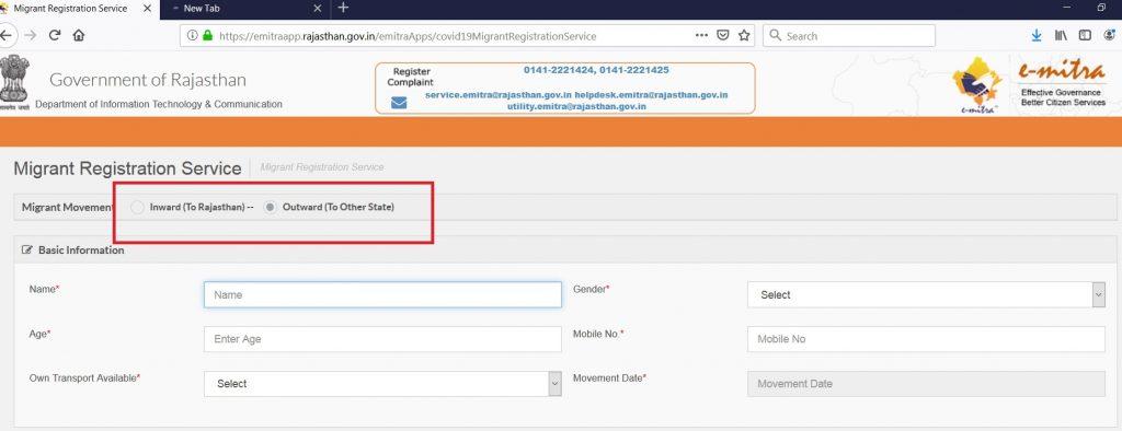 rajasthan covid 19 migrate registration online process