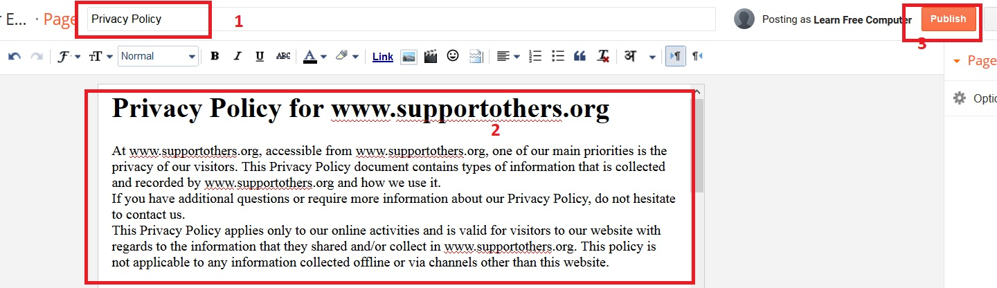 add privacy policy page