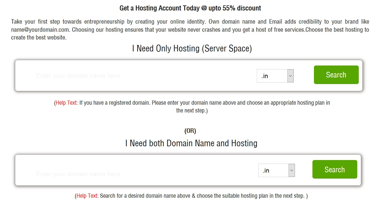 select domain for hosting