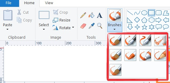 brushes in home tab