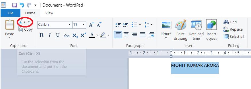 cut-in-wordpad