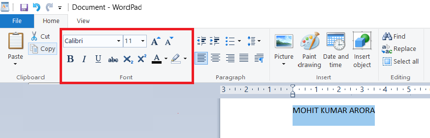 font-in-wordpad