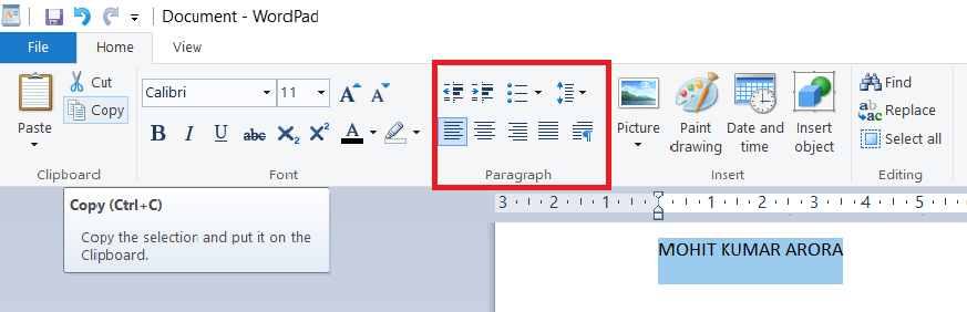 paragraph-in-wordpad
