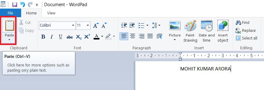 paste-in-wordpad