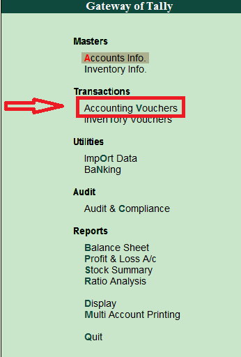 accounting voucher entry