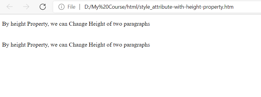 style attribute with height property
