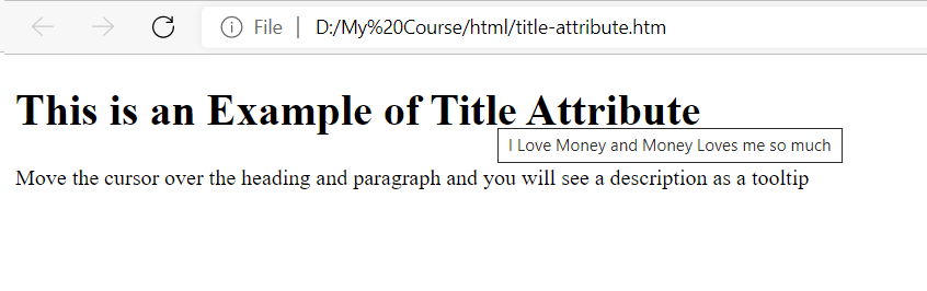 title attribute in html